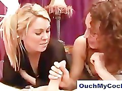 Two angry babes give unfaithfuly guy a harsh handjob