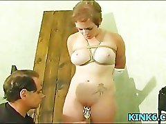 boobs torture by large needle