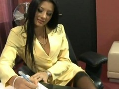 threesome stockings office