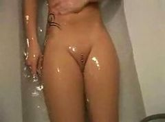 blonde pool anal shaved oiled