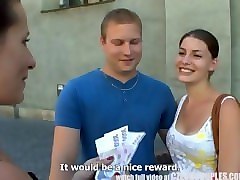 czech young couple takes money for public foursome