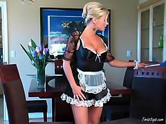 maid watches man wank