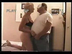 young girl strap on old man